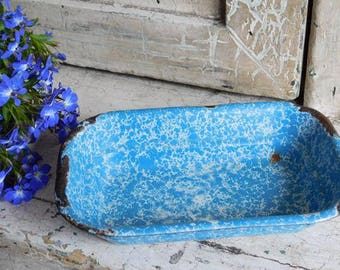 Vintage Blue White Enamelware Speckled Soap Dish, Farmhouse Antiques