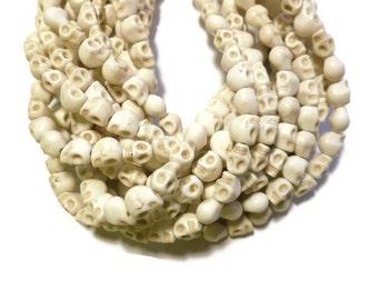 Bone White Howlite - Skulls - 8mm x 6mm - 47 beads - Full Strand - White Turquoise - Imitation Turquoise - Skull - Ivory Cream