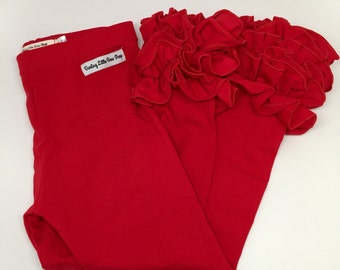 Red Ruffle Leggings - Apple Red Ruffle Leggings - adorable knit ruffle leggings -  size 6m to 8 with FREE SHIPPING