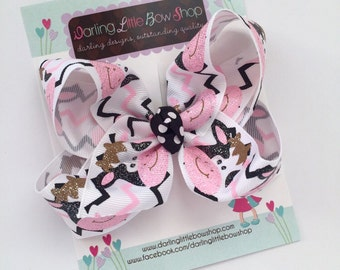 Cow bow, Cow hairbow hair bow -- Udderly Adorable -- Large hair bow with optional headband -- pink and black with sparkly cow face