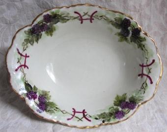 Vintage Serving Bowl Bavaria Rex Hand Painted Blackberries Gold Edge