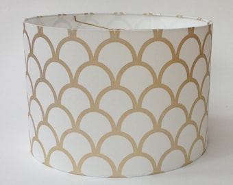"""Medium Drum Lamp Shade in Caitlin Wilson's Metallic Gold Scallop Fabric - 16"""" D X 11"""" T - Ready to Ship!"""