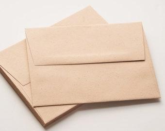 "A2 Natural Paper Envelopes (4.25"" x 5.75"") // Set of 10 // Kraft Envelope // Square Flap"