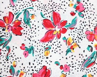 80's Polka Dot Floral Cotton Fabric by Cranston Print Works . 90's Fashion Style Material . Pink Black and White . 1990s 1980s 90s Retro