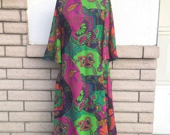Vintage 60s 70s Elinor Simmons for Malcolm Starr Chiffon Psychedelic Caftan Evening Gown Size Large