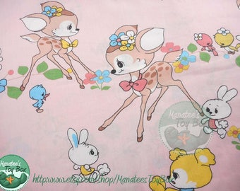 Vintage Cute Deer and Bunny Print Flat Toddler Bed Sized Sheet
