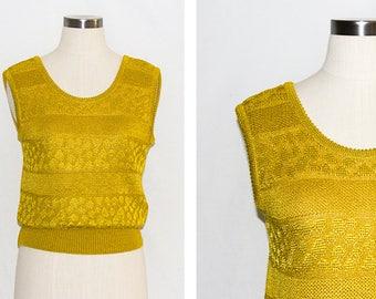 Vintage Mustard Knitted Texture Stripe Vest
