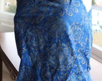 On trend 80s handmade cobalt blue gold cotton print vest XS