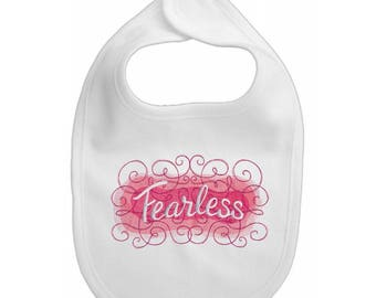 """Embroidered """"Fearless"""" baby bib"""
