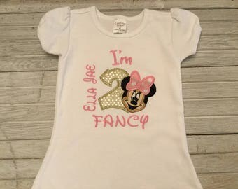 2nd Birthday Shirt I'm 2 Fancy Birthday Girl Shirt Minnie Mouse Birthday Shirt