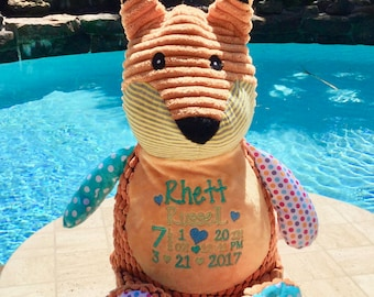 Personalized Baby gift  Monogrammed Embroidered Stuffed Animal, Fox, Personalized Fox Stuffie Lamb Keepsake Bunny Cubbies Baptism