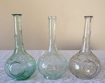 ON SALE for a week 3 French Antique Carafe French Vintage Bottle for French Aperitif Glass Eau de Nil Color