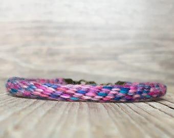 Boho handmade bracelet - Hippie cord bracelet - Braided Cord Bracelet - made with hand dyed yarn