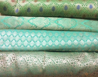 Bundle/Stack of Turquoise green Indian brocade/set of four fat quarters/perfect for crafting/sewing