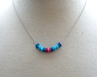 Blue and Red Petite Wooden Disc Necklace