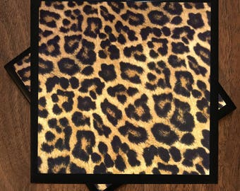 Leopard Print Ceramic Tile Coasters