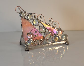 Functional Office Art - Business Card Holder - Pink - Bling - Female - Custom - Made to Order - Card Holder - Sassy - Glass - Stained Glass