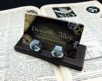 Steampunk Industrial Polymer Clay Business Card Holder