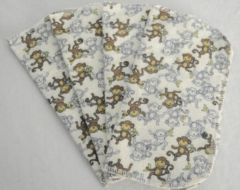 4 Pack - Hanging Monkies Flannel Cloth Diaper Wipes