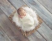 Faux Fur, Newborn Photo Prop, Cream fur, Fur rug, Basket Filler,Mongolian Fur, Basket Stuffer, Backdrop