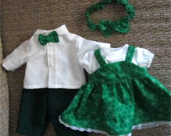 """Twin Doll Green White Shamrock Print Jumper Blouse Headband Shirt Green Pants Bow Tie Set  Fits Bitty Baby Twins and  Other 15"""" Baby Dolls"""