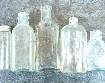 5 Small Clear Antique Glass Bottles, Clairol Bayer, Assorted Vases, Cottage Wedding Decor, Rustic Shabby Chic, Instant Collection