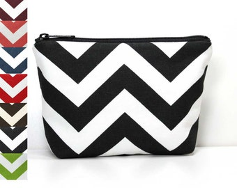 Chevron Zipper Pouch - Makeup Pouch - Catch All Bag - Zipper Bag - Choose a Color Gray Grey Green Yellow Red Teal Black Brown Maroon