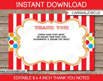 Carnival Party Thank You Notes - Circus - Carnival Thank You Cards - Carnival Favor Tags - 4x6 inches - INSTANT DOWNLOAD with EDITABLE text