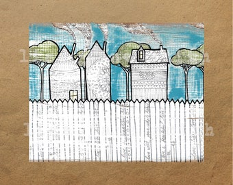 Original painting and ink drawing print - houses and trees - patterned art - 8x10 horizontal art print