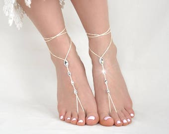 Ivory Barefoot Sandals- Bridesmaid Gift- Foot Jewelry- Beach Wedding Sandals- Swarovski Crystals- Barefoot Wedding Shoes- Boho Wedding Shoes