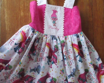 Trolls dress, Girls party dress, portraite dress, available to order 12mos, 2T,3T,4T,5