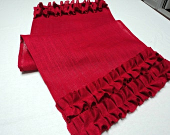 Red Table Runner with Ruffles French Country Burlap Table Runner Red Table Runner Valentine's Day Table Decorations