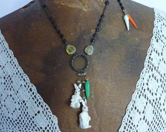 TWO LEAD BUNNIES vintage antique assemblage necklace