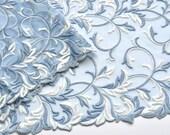 Stone Blue Leaf Pattern Lace Trim, Blue Double Edged Trim, Blue and White Lace, Table Runner, Lace Decor, Lace Scarf, Lace Decor