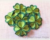 Felt Shamrock Blooms - St. Patrick's Day Decorations - Felt Clover Flowers - Green Flowers - Set of 6.
