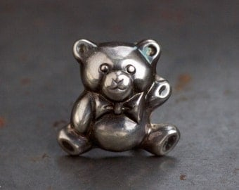 Silver Tedy Bear Lapel Pin - Sterling Silver Brooch and Pendant - Oxidized Jewelry - 80s Fashion