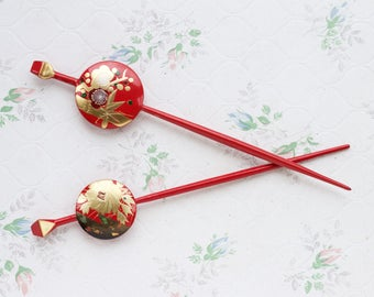 Japanese Hair Sticks - Pair of Red kanzashi - Urushi Lacquer