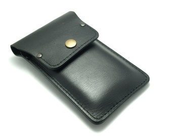 Personalized black leather stylish sleeve to fit all Phone models cell case with pocket for cards and cash free initials belt loop flap