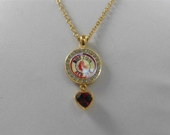 MLB Boston Red Sox Gold Tone Red Crystal Heart Necklace 18""