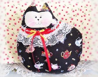 Cat Pillow Doll Cloth Doll 7 inch Cat, Black with Teapots Cherries, Primitive Soft Sculpture Handmade CharlotteStyle Decorative Folk Art