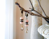 Victorian Pink Opal Earrings, Repurposed Vintage, Rhinestone, Dangle, Drop, Wedding Cake, Romantic, Antique Gold Lever Back, Upcycled
