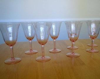 Pink/Blush Wine Glasses, Art Deco Wine Glasses 8pc Set, Hand Blown Wine Glasses, Tiffin Optic Panel Wine Goblet, Vintage Barware, 1930s,Gift
