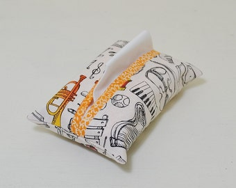 Music Theme Fabric Tissue Holder - Instruments Pocket Tissue Pouch - Tissue Cover - Purse Accessory - Teacher Thank You Gift - Orange Floral