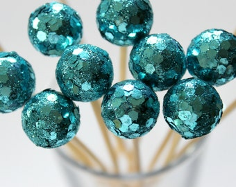 Mermaid Blue Drink Stirrers, Party Decor, Cocktail Toppers, Ocean Theme