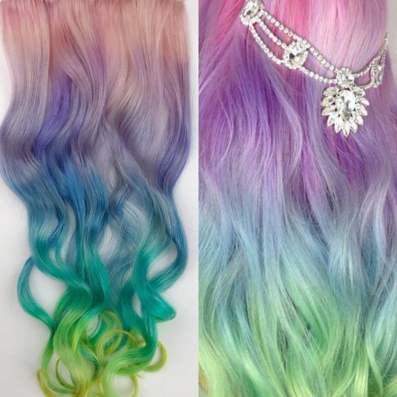 Unicorn hair extensions clip in pastel hair extensions full like this item pmusecretfo Choice Image