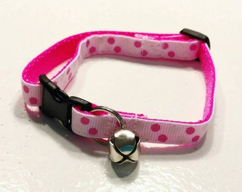 Cat COLLAR - MINI Pink Dots on White - Choose Your Style