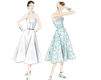 Vogue 2961 vintage sewing pattern, Original 1953 design, 1950s dress, halter or strapless, sizes 12-14-16-18 UNCUT