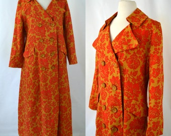 1960s/1970s Gold and Red Floral Print Maxi Day Over Coat, Light Weight Coat