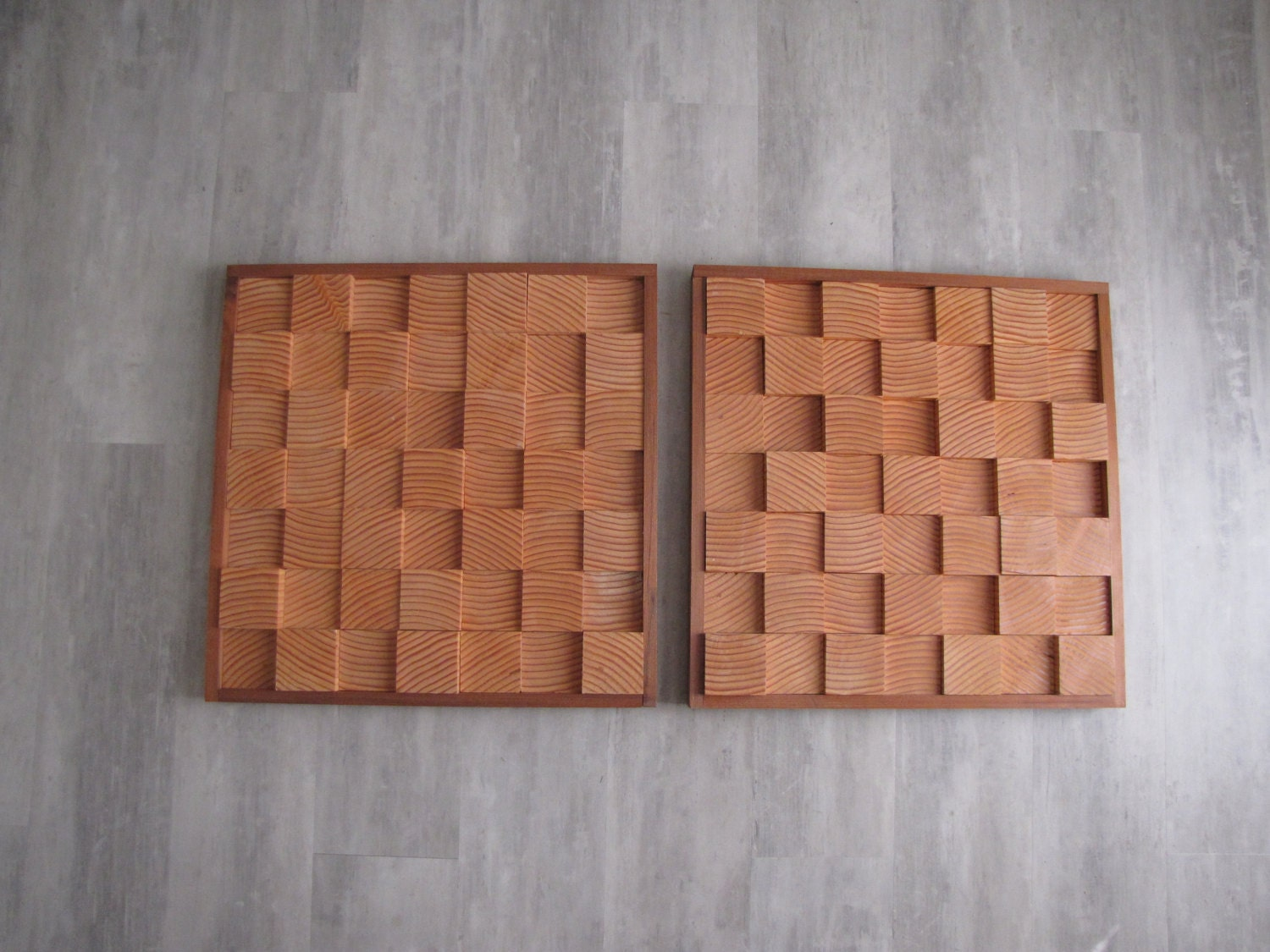 Modern wood block wall art set of two amber wave approx