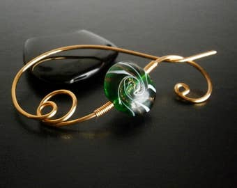 Shawl Pin, Scarf Pin, Glass bead brooch, Wire Jewelry, Pin for knitters, Gold pin, Wirework